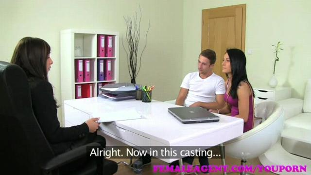 Sexy MILF agent watches and wanks as horny couple fuck